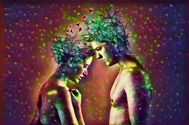 """Imagen metafórica de una pareja. Usando la técnica del """"modern art"""", un hombre y una mujer, desnudos, de cintura para arriba, se encaran. De sus cabezas salen algo parecido a ramas y mariposas. Todo con colores muy fuertes. Muy impactante."""