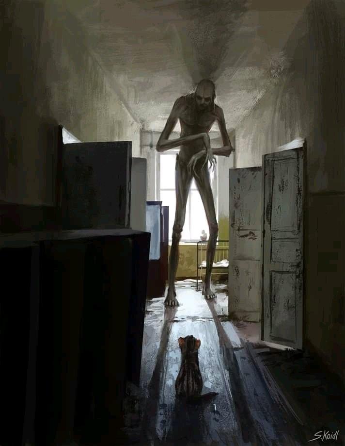 Ilustración de Stefan Koidl que muestra a una especie de extraterrestre muy alto dentro una habitación. Su altura sobrepasa la de la habituación y un pequeño gato lo mira, sentado y expectante.