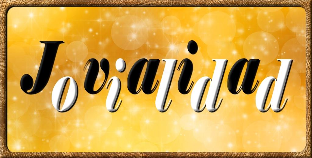 Un diseño, algo loco, con la palabra JOVIALIDAD sobre fondo amarillo de burbujas. Las letras se alternan en colores negro y blanco y también se desplazan en altura. Quedando arriba las letras impares en negro y abajo las pares en blanco.