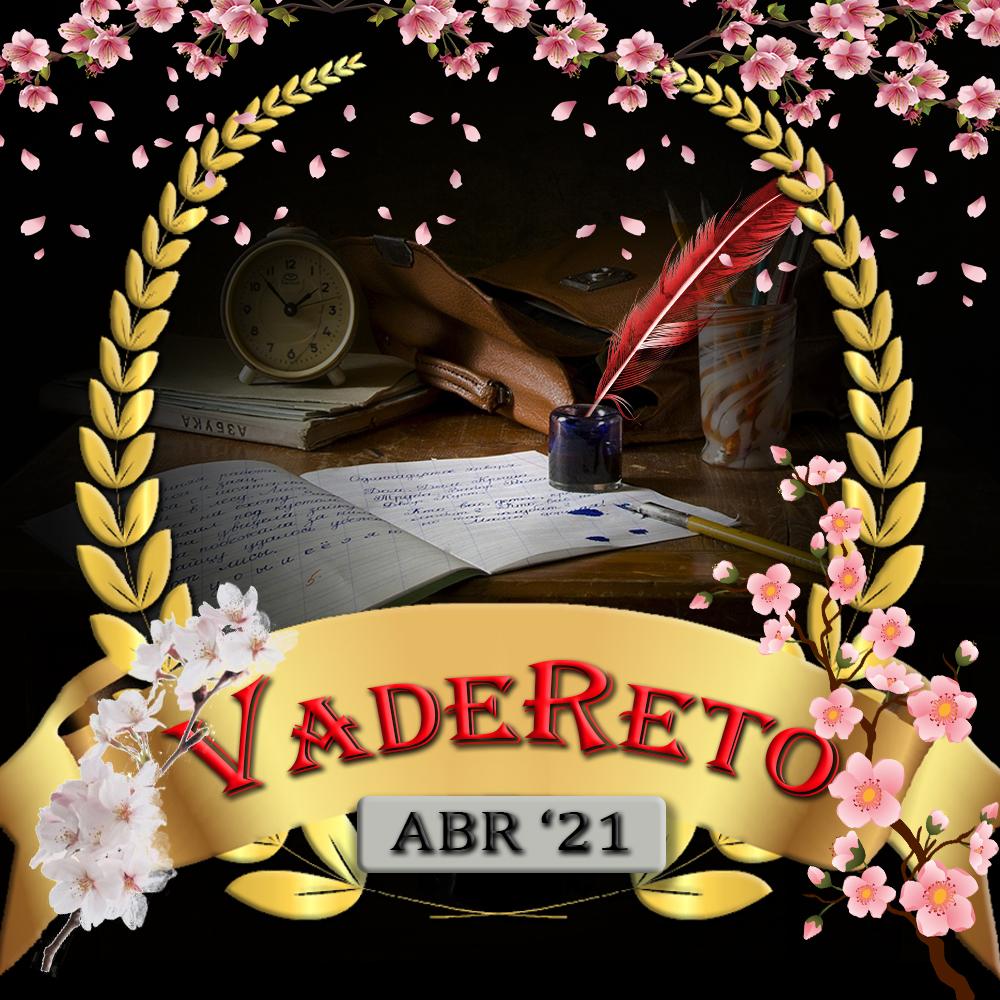 """Descripción del logo.- De fondo, una mesa de escritorio, con avíos de escritura: Cuaderno abierto con borrones, una cartera, un cubilete con lápices, un despertador y, destacando, una pluma roja de ave dentro de un tintero. Todo esto queda enmarcado por una corona de laurel dorada. La parte exterior, queda oscurecida. En la parte inferior, aparece en horizontal, una cinta, también dorada, donde aparece escrito el texto """"VadeReto"""" y debajo de éste el mes abreviado y el año, dentro de un rectángulo plateado. Nota.- En este mes he añadido flores de cerezo, blancas y rosas, alrededor de la imagen."""
