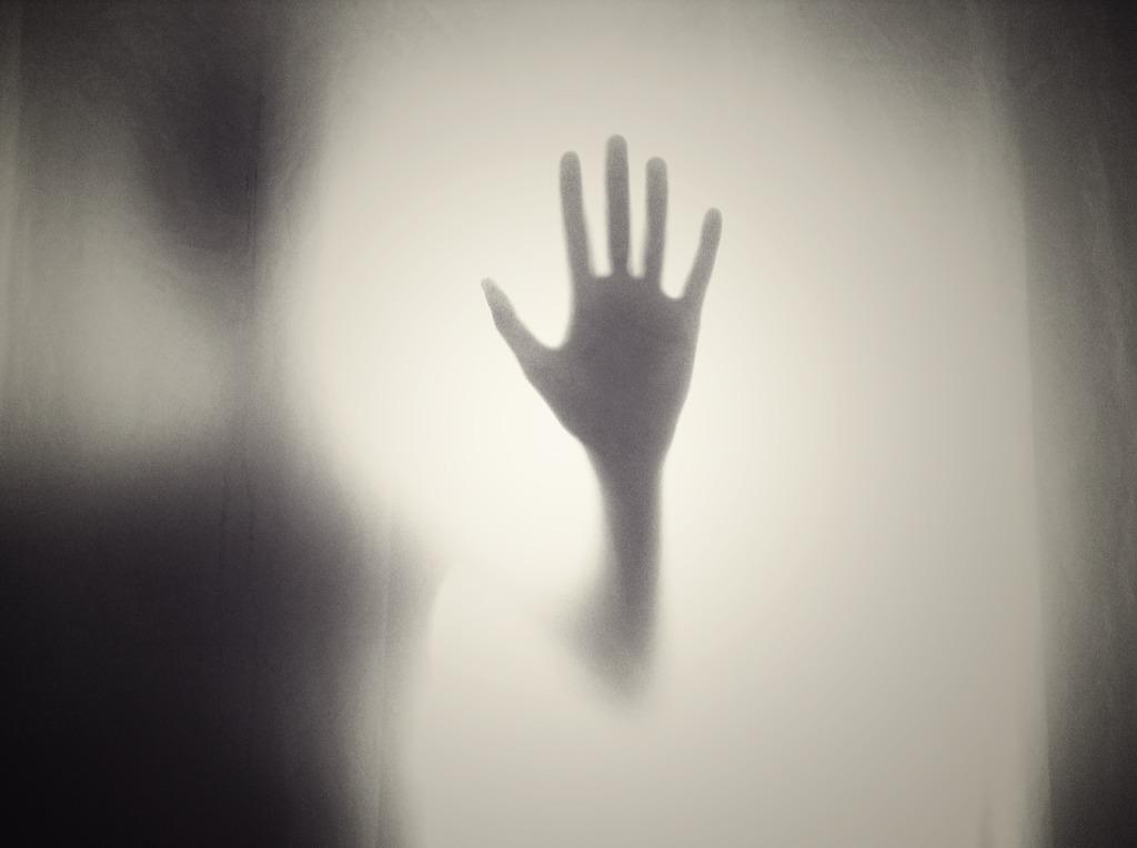 Imagen en blanco y negro monstrando una mano a contraluz apoyada sobre un cristal. Vista desde el otro lado. La silueta portadora del miembro solo se ve muy ténuemente.