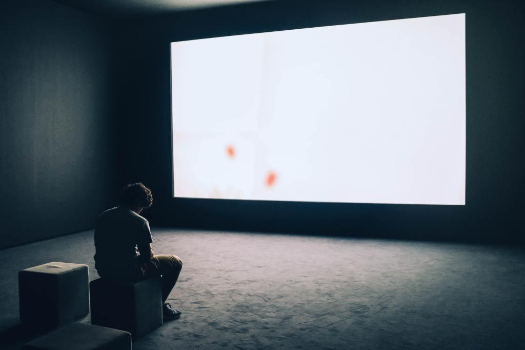 Una pantalla de cine en blanco ilumina una habitación oscura. En ella se encuentra un hombre, sentado en un cubilete, junto a otro vacío, de espalda a nosotros y mirando de soslayo la pantalla. El hombre se encuentra en la esquina inferior izquierda y la pantalla domina toda la imagen desde la parte superior derecha.